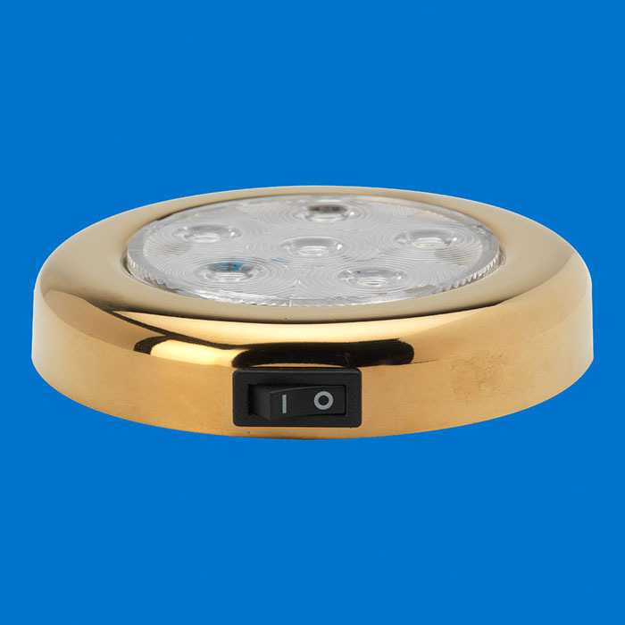 4 led puck light tin plated with switch warm white. Black Bedroom Furniture Sets. Home Design Ideas