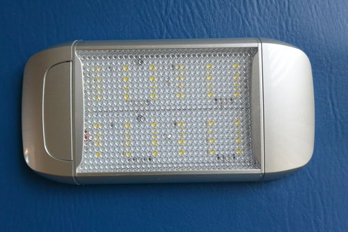 LED Boat/Caravan Light - Silver Switched Cabin Slab 20cm - White LEDs - 12V